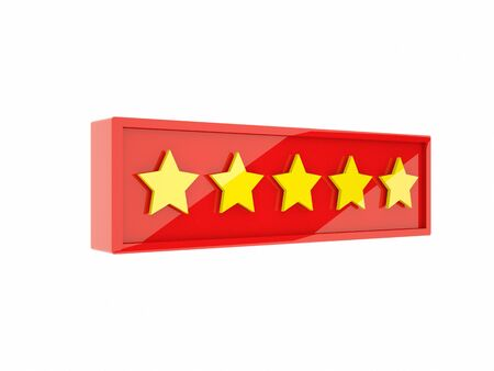 3d rendering golden five stars in red frame on white background Stock Photo - 129589217