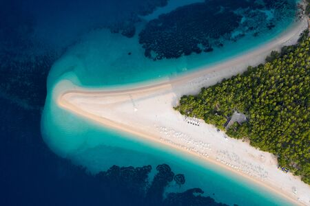 Aerial view at summer beach and sea. Famous place in Croatia from above. Drone air photo.