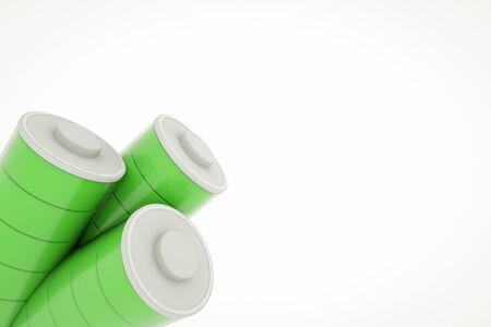 Several full charged batteries with green battery cells in glass tube. Isolated on white background.
