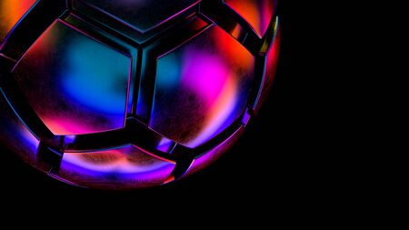 Hexagon sphere in iridescent neon vivid colors. 3d render.