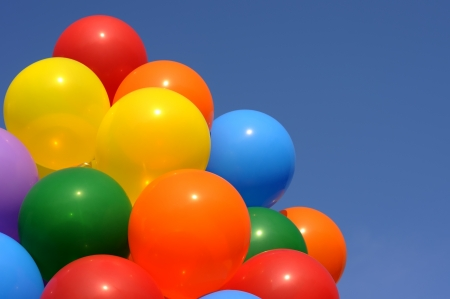 groupings: multicolored balloons in the city festival