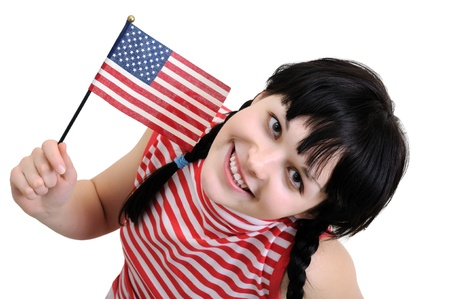 young woman holding  American flag,isolated on white photo