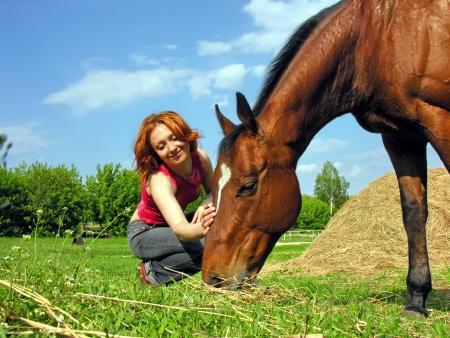 femme et cheval: jeune femme et le cheval dans la ferme en journée ensoleillée Banque d'images