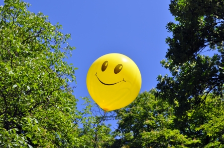 smiling balloon on the trees background