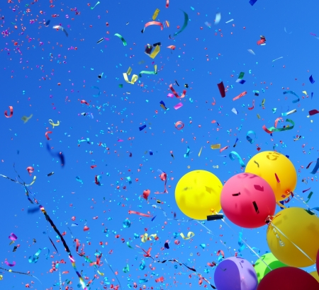 party balloons: multicolored balloons and confetti in the city festival #2