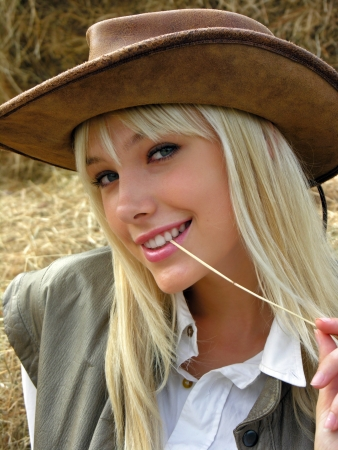 portrait of  young cowgirl