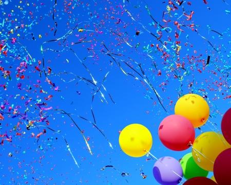 multicolored balloons and confetti in the city festival  4