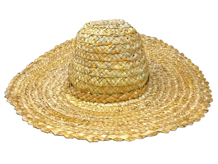 straw hat: traditional ukrainian straw hat isolated on white