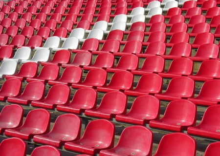 red and white seats in the stadium             photo