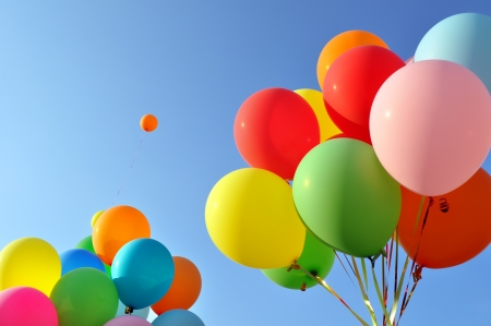 party balloons: multicolored balloons in the city festival