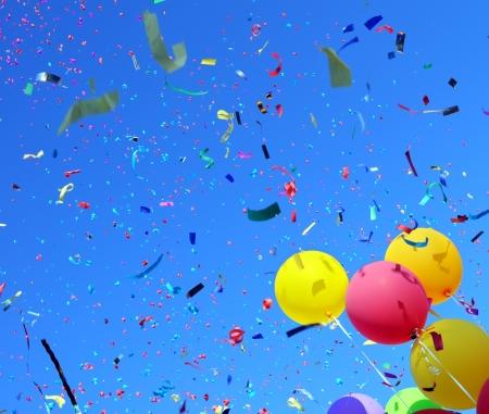 confetti background: multicolored balloons and confetti in the city festival #3