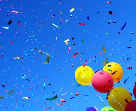 holiday celebration: multicolored balloons and confetti in the city festival  5