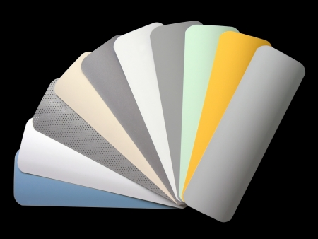 fan shaped:           venetian blinds color chart, isolated on black Stock Photo