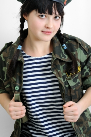 army girl: portrait of young ukrainian woman in military uniform Stock Photo