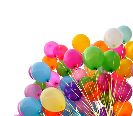 multicolored balloons isolated on white