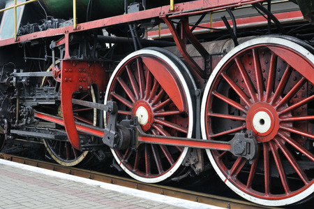 steam locomotive: part of active steam locomotive Stock Photo