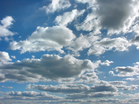 blue summer sky: blue sky with clouds in the summer day Stock Photo