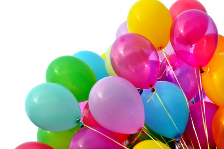 party balloons: multicolored balloons, isolated on white Stock Photo