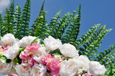 artificial flowers: close-up of colorful artificial flower bouquet