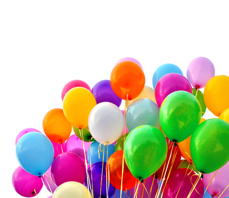entertainment event: multicolored balloons, isolated on white Stock Photo