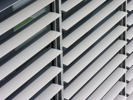 louver: opened metallic   window shutter at the  office building, innovation technique