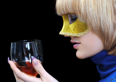 young attractive woman  hold wineglass, isolated on black background