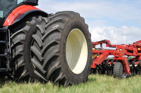 Cherkasy, Ukraine - May 18, 2018: Modern agricultural machinery exhibited at the  agricultural exhibition AGROSHOW in Cherkasy, Ukraine