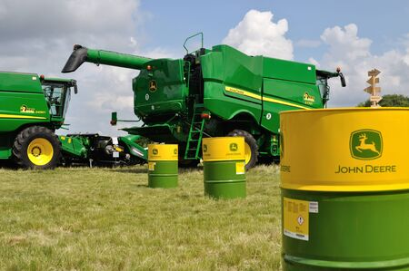 Cherkasy, Ukraine - May 18, 2018: Modern John Deere combines  exhibited at the  agricultural exhibition AGROSHOW in Cherkasy, Ukraine