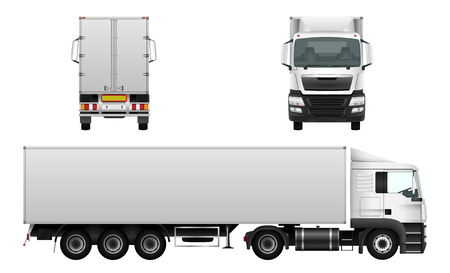 Cargo truck, delivery vehicle isolated on white, car template for corporate identity