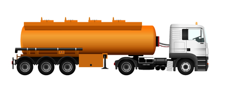 truck trailer: Fuel gas tanker truck template. Vector isolated car. Truck trailer on white background