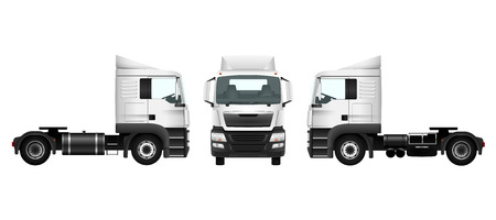 Truck template on white. Isolated car. Transport pattern for advertising design Çizim