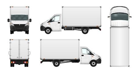 Bestelwagen vector illustratie op wit. Stad commerciële minibus template. Geïsoleerde levering voertuig. Vector Illustratie