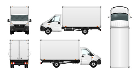 Cargo van vector illustration on white. City commercial minibus template. Isolated delivery vehicle. Vettoriali