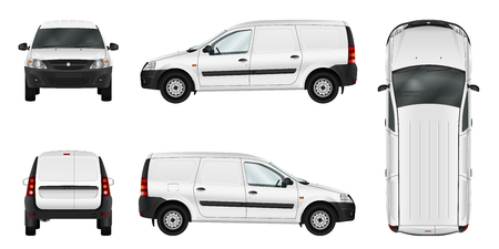 White vector car isolated template. Blank cargo delivery minivan. Separate groups and layers. Vettoriali