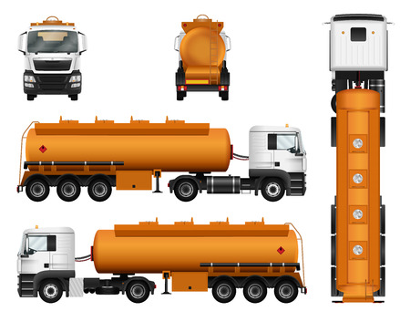 Gas tanker truck trailer vector template. Isolated cargo car on white background. Vettoriali