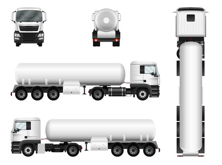 White truck whith trailer. Vector tank car template. Separate groups and layers. Vectores