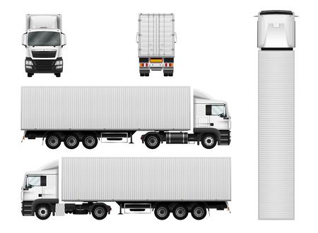 LKW-Anhänger mit Container. Vector semi truck Vorlage auf weiß. Frachtzustellung Fahrzeug. Separate Gruppen und Schichten.