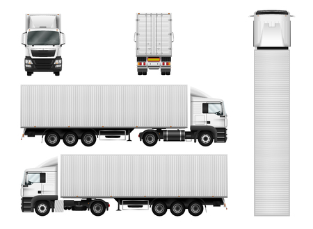 Truck trailer with container. Vector semi truck template on white. Cargo delivery vehicle. Separate groups and layers. Stock Illustratie