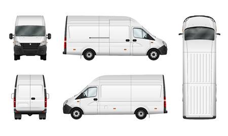 Ilustración vectorial de carga van en blanco. City plantilla minibús comercial. vehículo de reparto aislado. Grupos separados y capas.