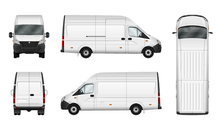 Merci illustrazione van vettore su bianco. Città modello minibus commerciale. veicolo di consegna isolato. gruppi separati e strati.