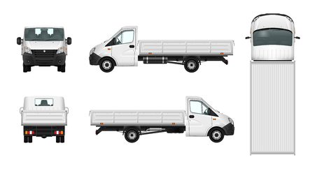 Pickup truck vector illustration. Cargo car template. Delivery vehicle on white background Vectores