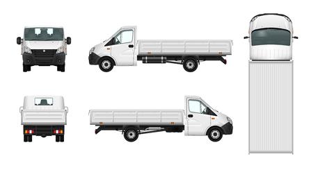 Ilustracja wektora pickup truck. Szablon samochodu towarowego. Dostawa pojazdu na białym tle Ilustracje wektorowe