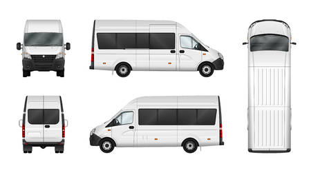 Cargo van vector illustration on white. City commercial minibus template. Isolated delivery vehicle. Separate groups and layers.