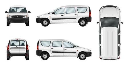 Weiß Auto-Vektor-Vorlage. Isolierte Lieferwagen. Separate Gruppen und Schichten.