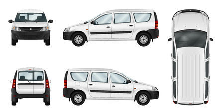 combi: White car vector template. Isolated delivery van. Separate groups and layers.