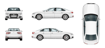 window view: Car vector template on white background. Business sedan isolated. Separate groups and layers.