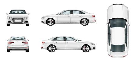 plantilla vector del coche sobre fondo blanco. aislado sedán de negocio. Grupos separados y capas.