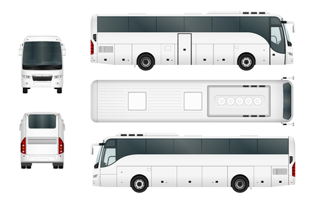 ベクトル バス テンプレートは、白い背景で隔離。グループおよびレイヤーによって独立しました。
