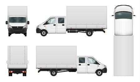 van de livraison template vecteur sur fond blanc. Isolated minibus cargo. Tous les éléments des groupes sur des calques séparés.