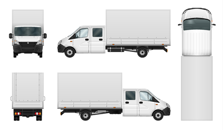 Delivery van vector template on white background. Isolated cargo minibus. All elements in groups on separate layers.